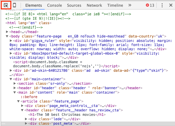 Finding elements on page in Chrome.